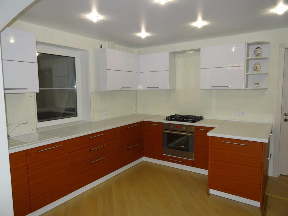 Встроенная кухня-Кухня МДФ в ПВХ «Модель 195»-фото1