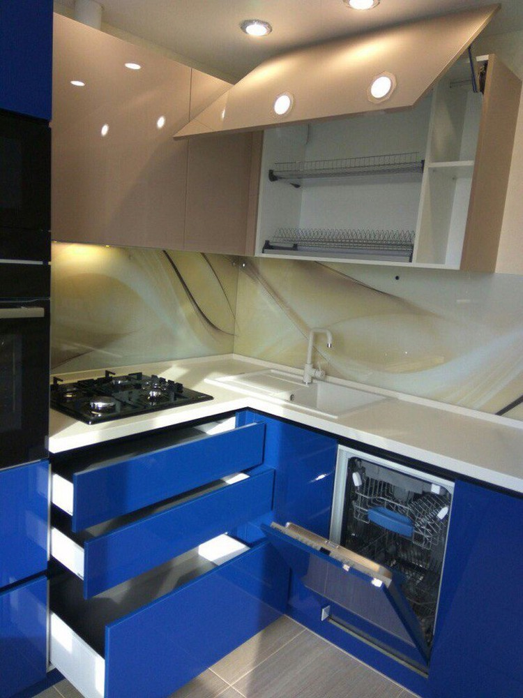 Акриловые кухни-Кухня МДФ в эмали «Модель 164»-фото2