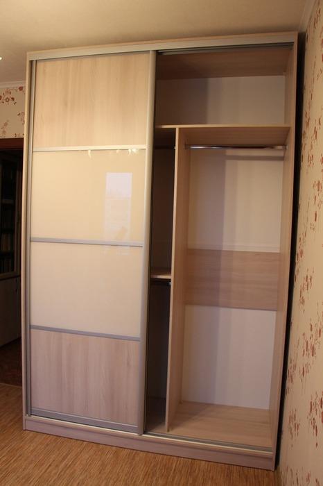 Встроенные шкафы-купе-Шкаф-купе из стекла Лакобель «Модель 21»-фото3
