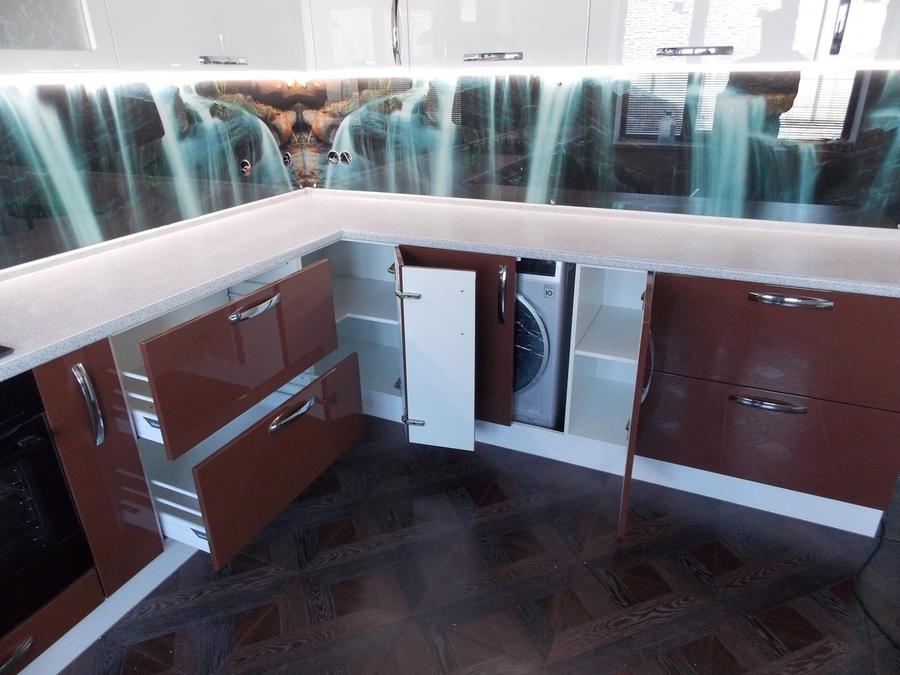 Белый кухонный гарнитур-Кухня из шпона «Модель 14»-фото4