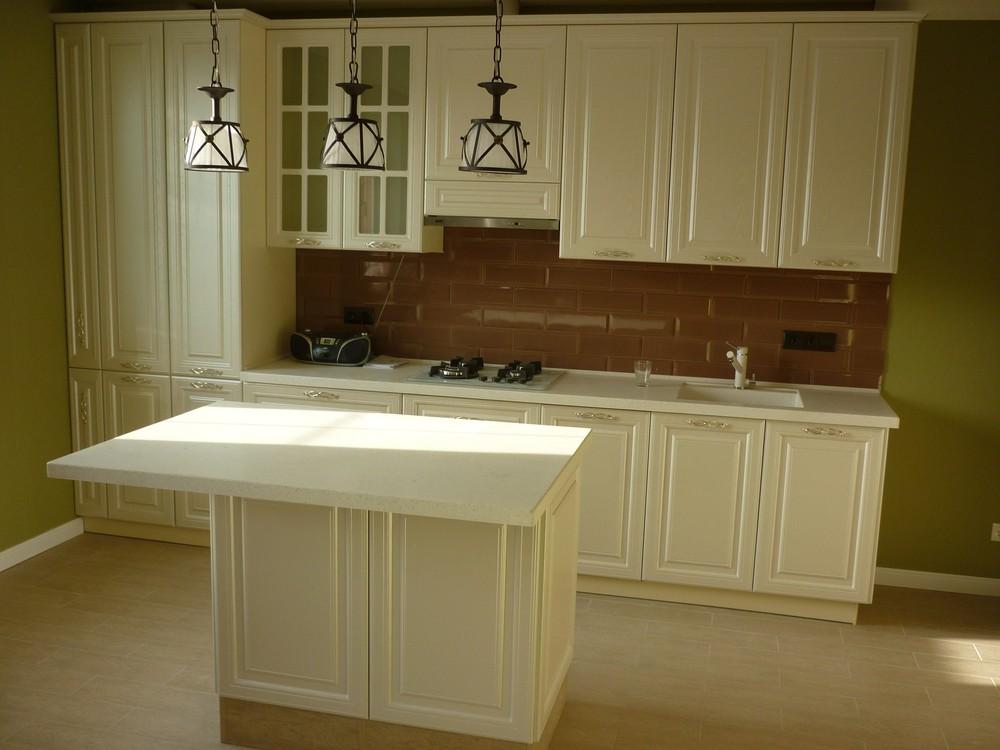 Белый кухонный гарнитур-Кухня МДФ в эмали «Модель 308»-фото1