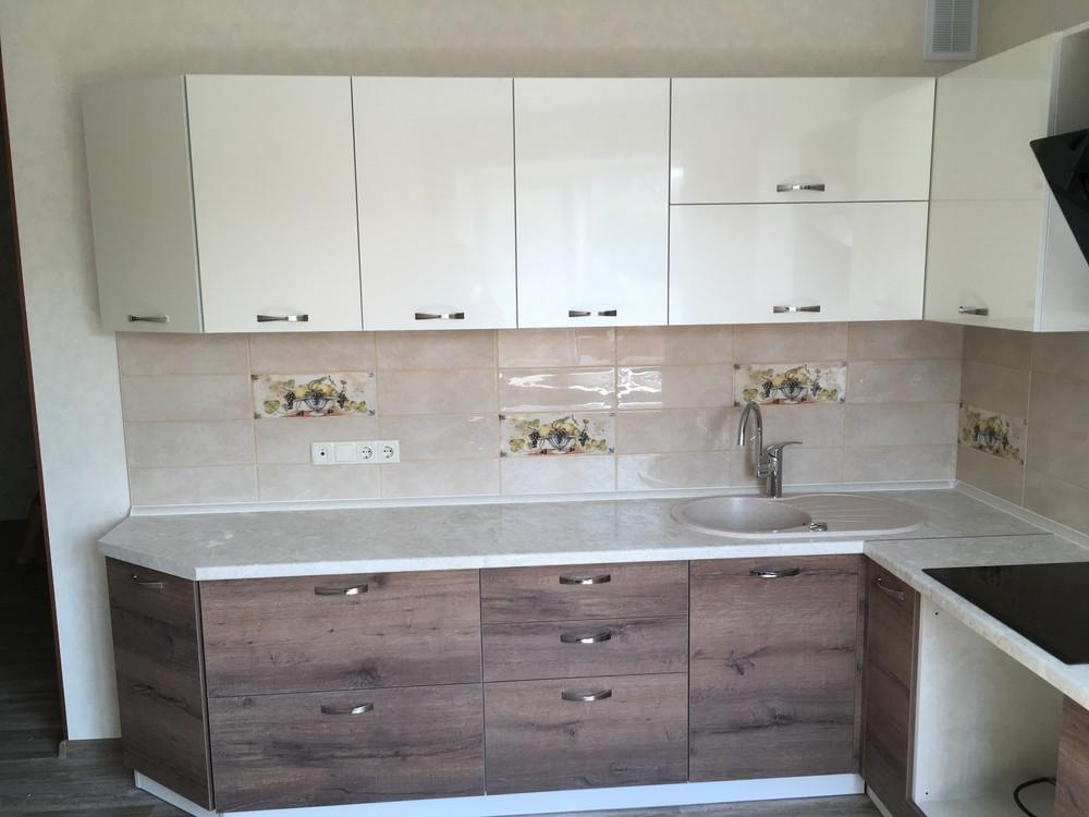 Белый кухонный гарнитур-Кухня МДФ в шпоне «Модель 318»-фото7