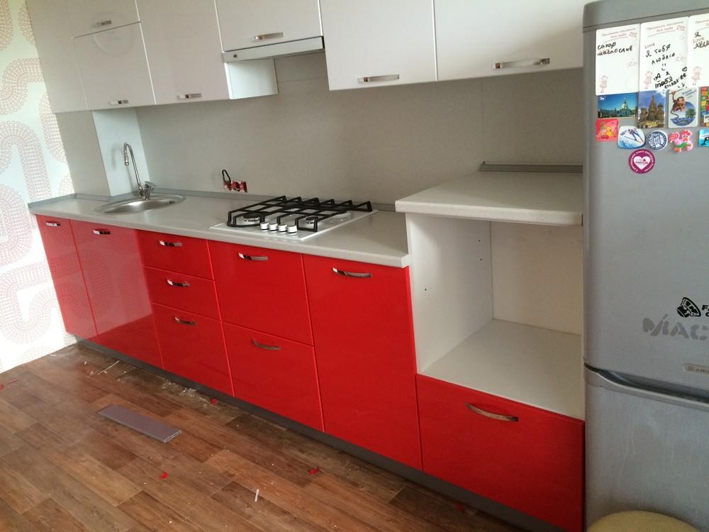 Белый кухонный гарнитур-Кухня МДФ в эмали «Модель 312»-фото2