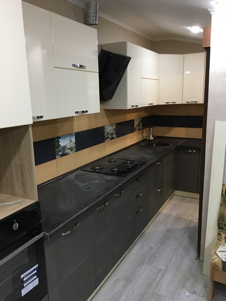 Белый кухонный гарнитур-Кухня МДФ в ПВХ «Модель 314»-фото1