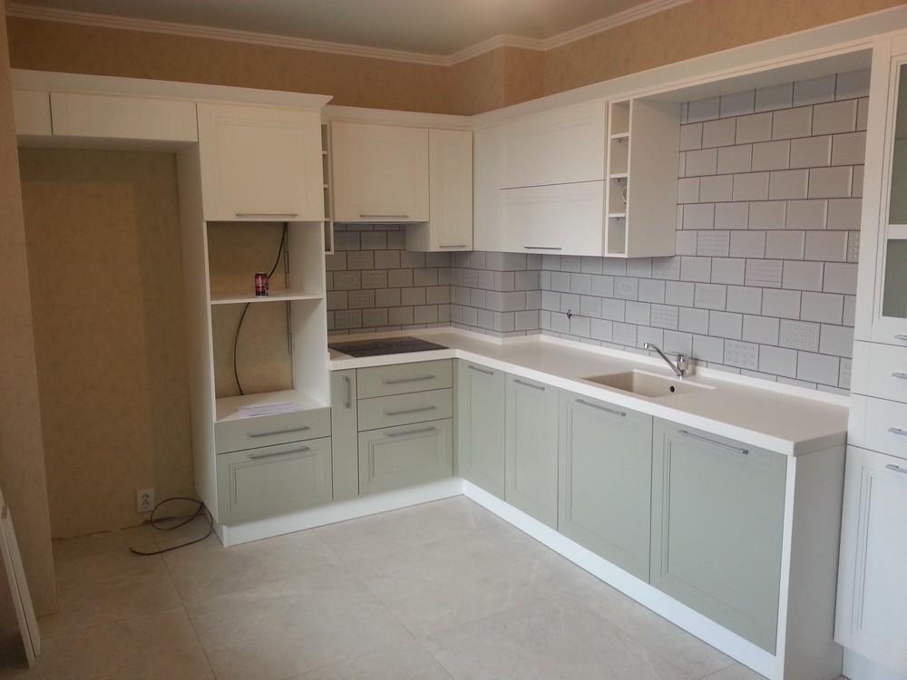 Белый кухонный гарнитур-Кухня МДФ в эмали «Модель 277»-фото1