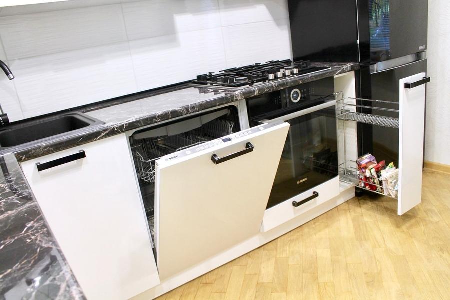 Белый кухонный гарнитур-Кухня МДФ в ПВХ «Модель 300»-фото7