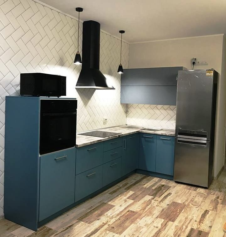 Комбинированные кухни-Кухня из пластика «Модель 373»-фото1