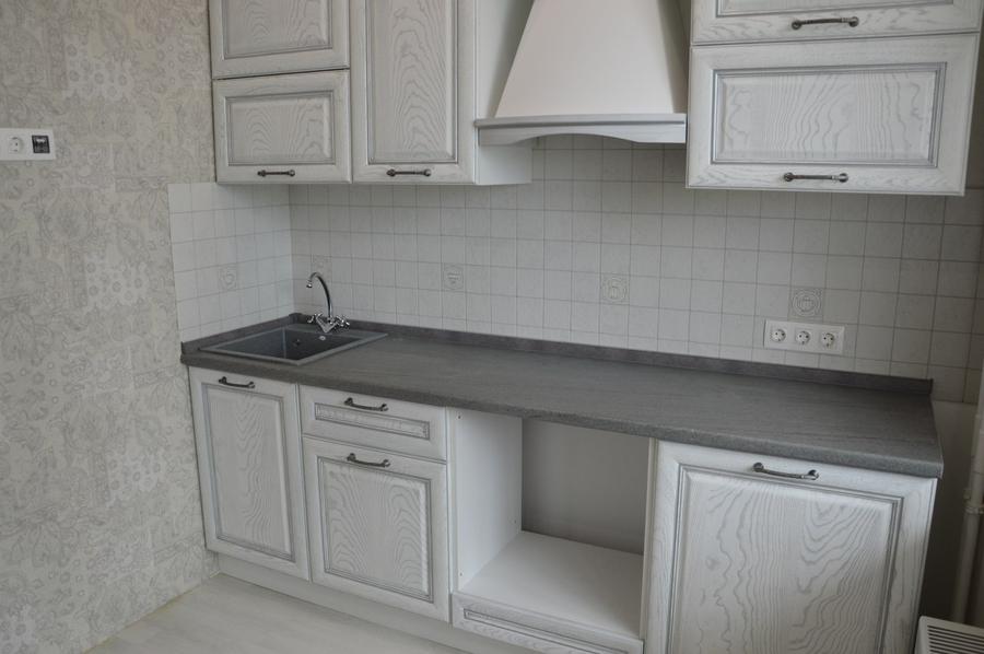 Белый кухонный гарнитур-Кухня их массива «Модель 427»-фото2