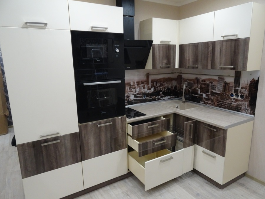 Белый кухонный гарнитур-Кухня МДФ в эмали «Модель 485»-фото9