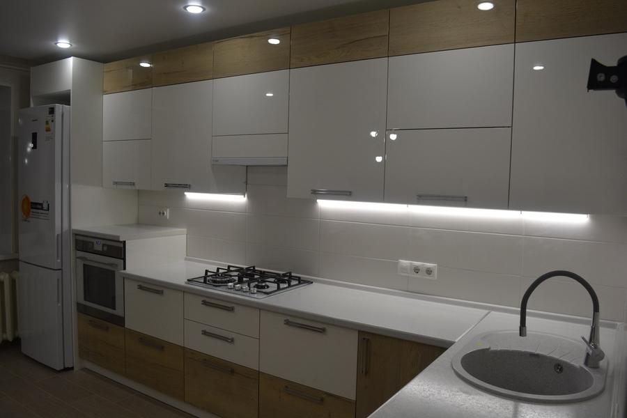 Белый кухонный гарнитур-Кухня из пластика «Модель 452»-фото2