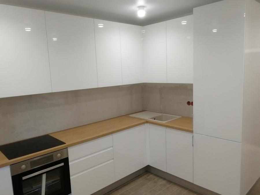 Белый кухонный гарнитур-Кухня МДФ в эмали «Модель 433»-фото1