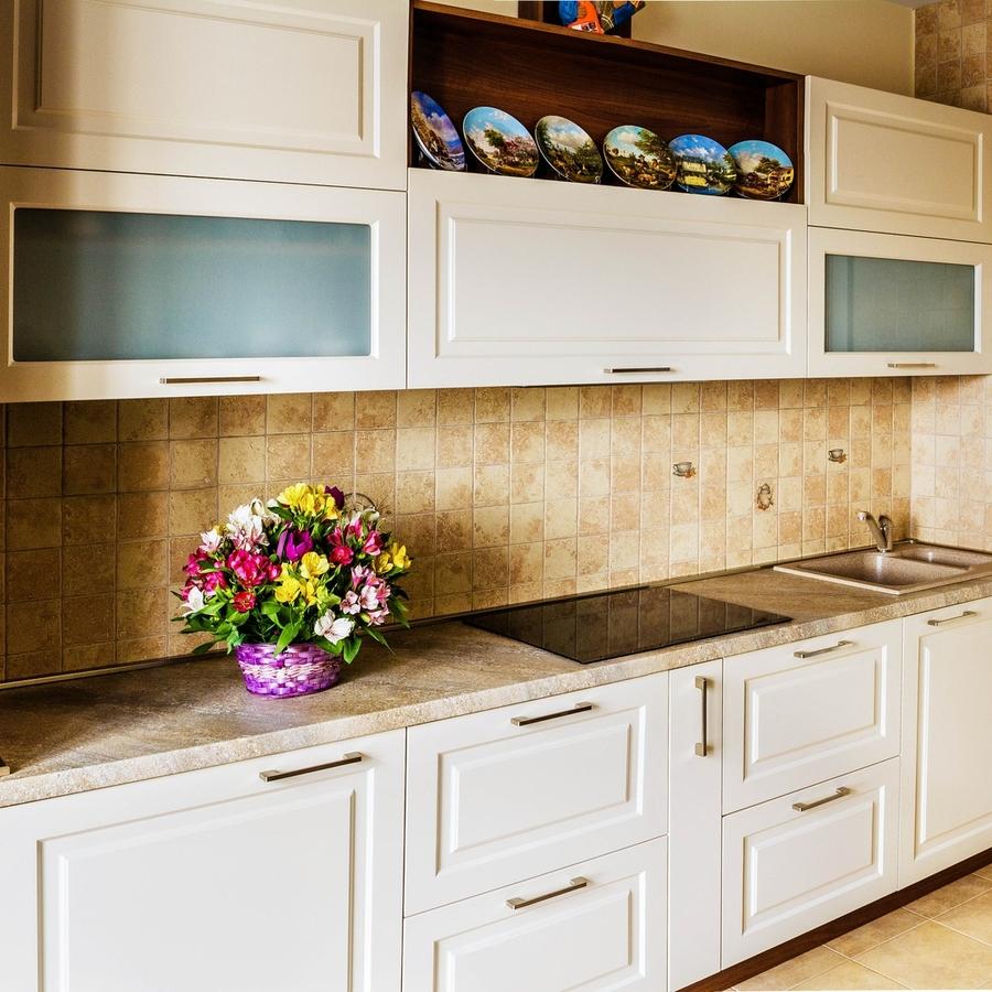 Белый кухонный гарнитур-Кухня МДФ в эмали «Модель 408»-фото2