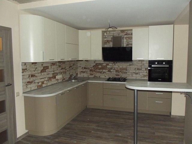 Белый кухонный гарнитур-Кухня из пластика «Модель 399»-фото1