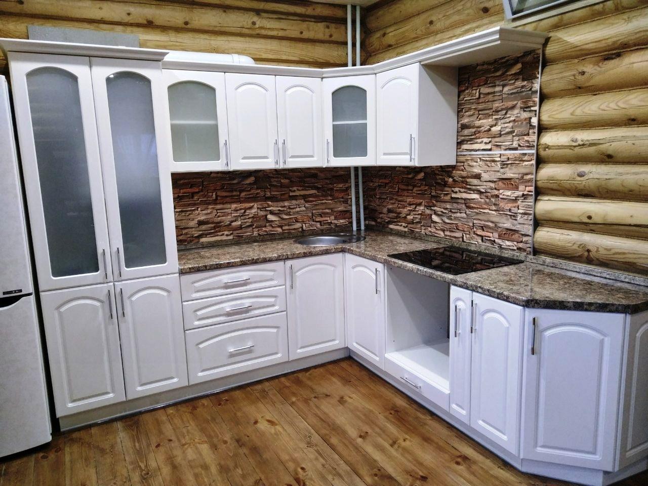 Белый кухонный гарнитур-Кухня МДФ в эмали «Модель 546»-фото2