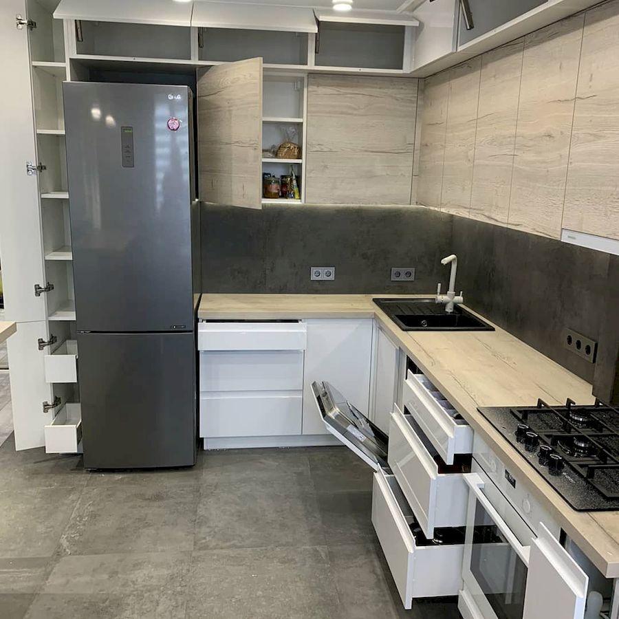 Белый кухонный гарнитур-Кухня МДФ в эмали «Модель 670»-фото7
