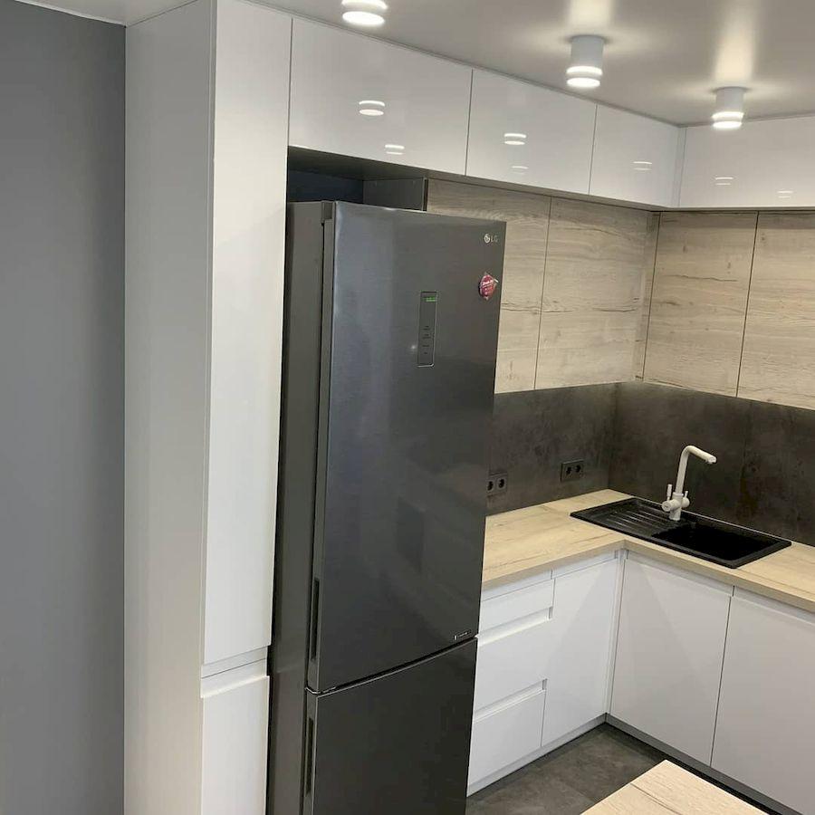 Белый кухонный гарнитур-Кухня МДФ в эмали «Модель 670»-фото5
