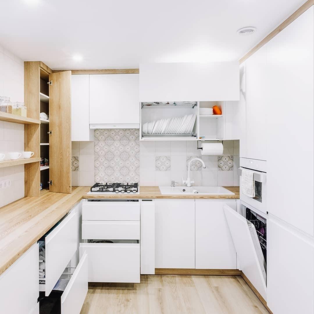 Встроенная кухня-Кухня МДФ в эмали «Модель 614»-фото3