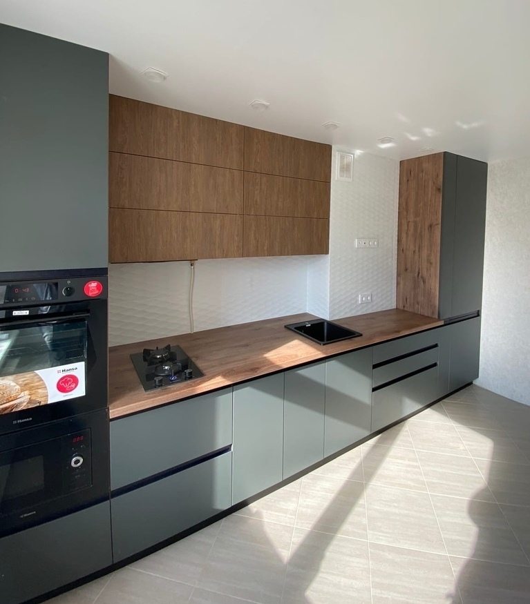 Встроенная кухня-Кухня МДФ в ПВХ «Модель 564»-фото1