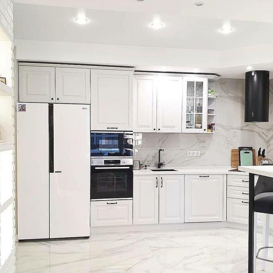 Белый кухонный гарнитур-Кухня МДФ в эмали «Модель 680»-фото2