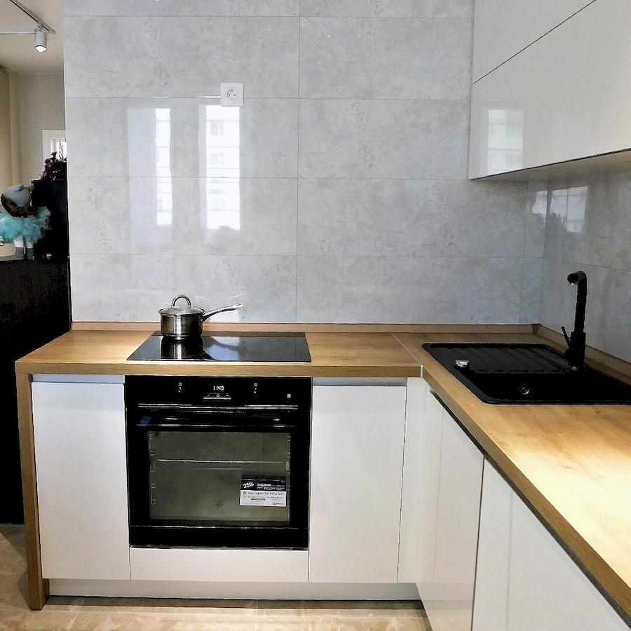 Белый кухонный гарнитур-Кухня МДФ в эмали «Модель 593»-фото4