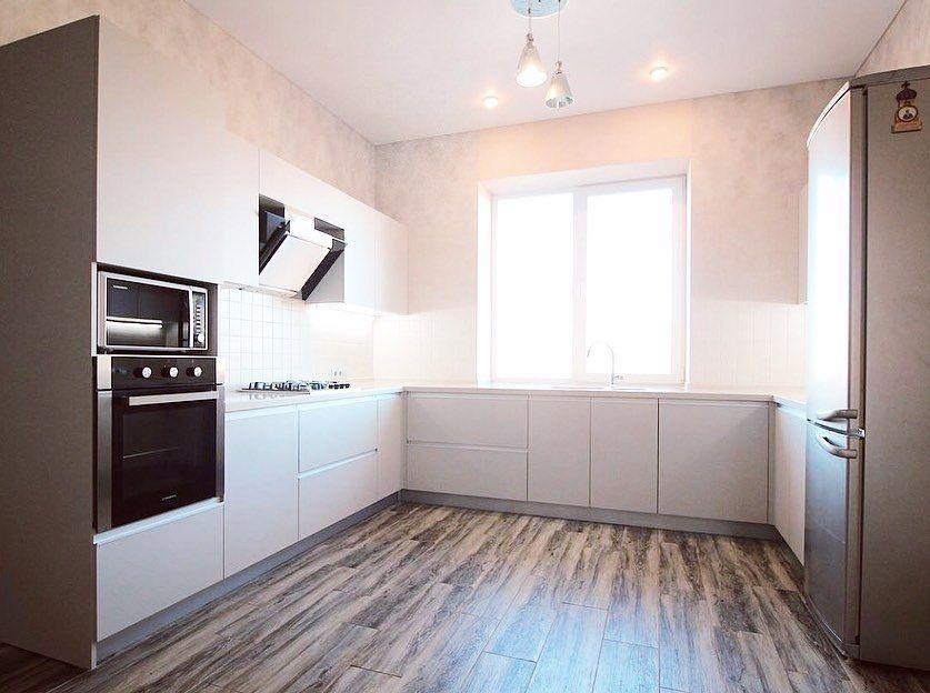 Белый кухонный гарнитур-Кухня из пластика «Модель 665»-фото1