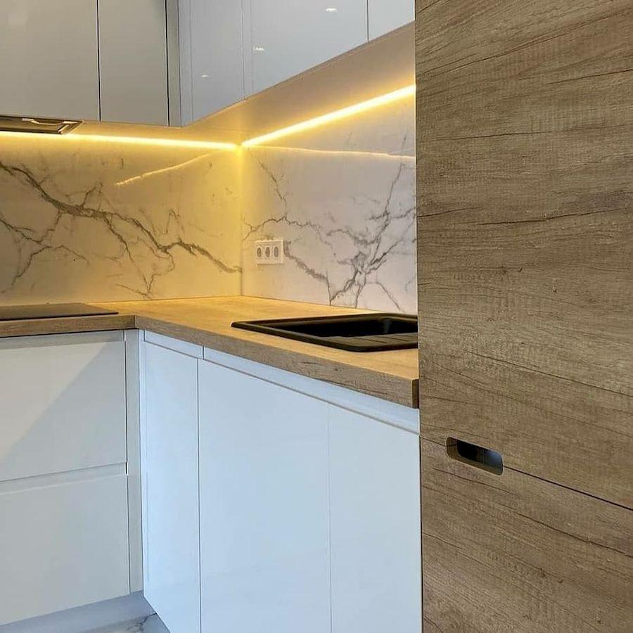 Белый кухонный гарнитур-Кухня из пластика «Модель 682»-фото5