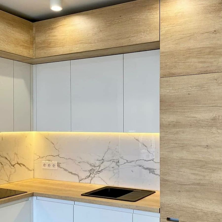 Белый кухонный гарнитур-Кухня из пластика «Модель 682»-фото4