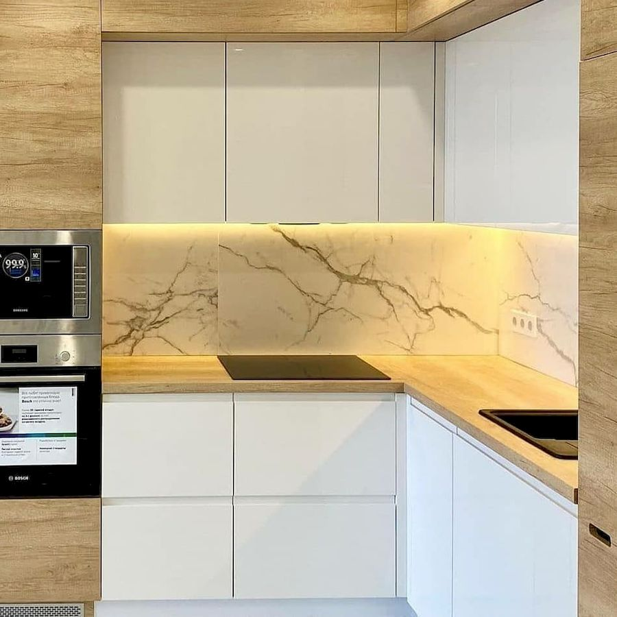 Белый кухонный гарнитур-Кухня из пластика «Модель 682»-фото3