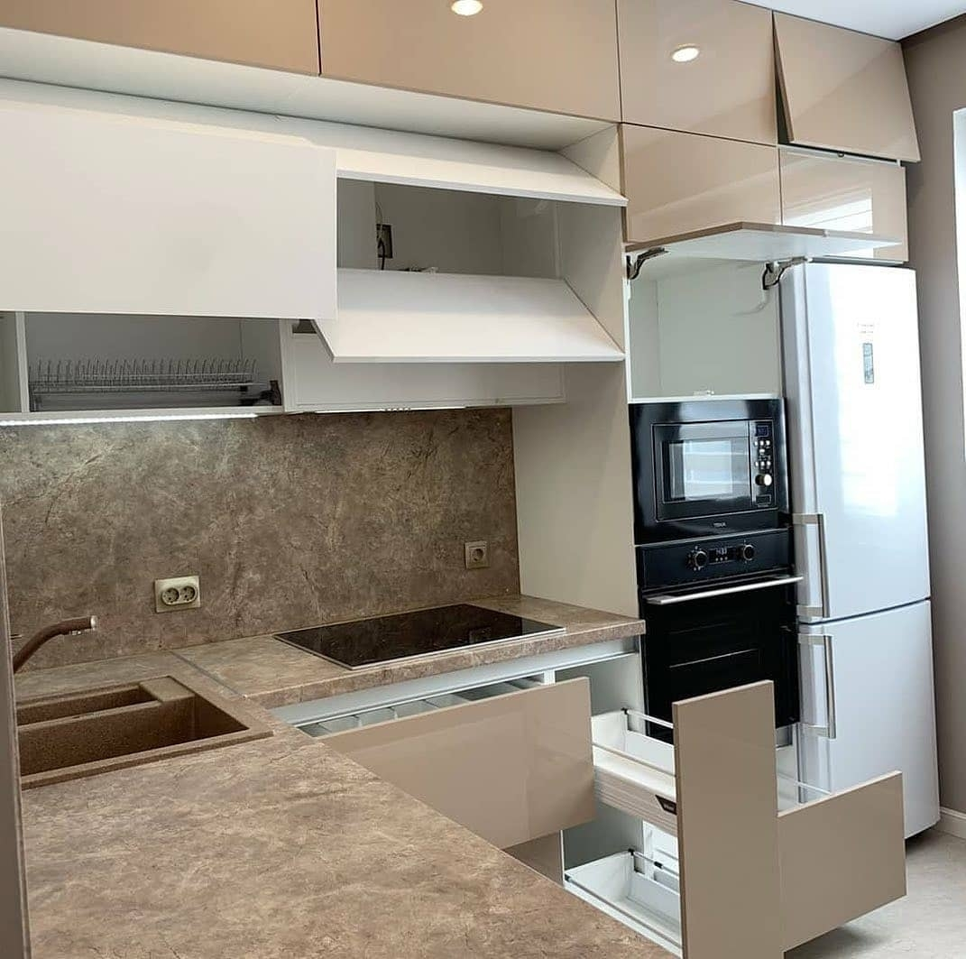 Бежевые кухни-Кухня из пластика «Модель 633»-фото4