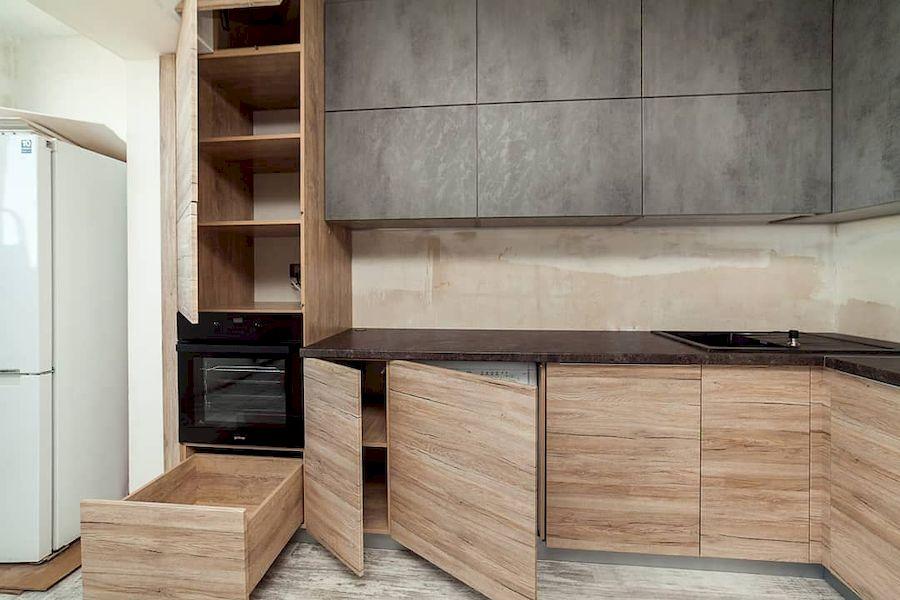 Высокие кухни под потолок-Кухня из ЛДСП «Модель 643»-фото4