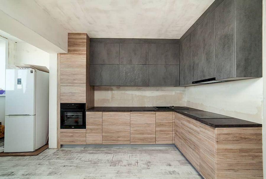 Высокие кухни под потолок-Кухня из ЛДСП «Модель 643»-фото2