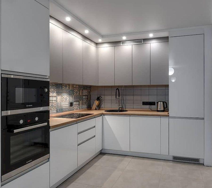 Белый кухонный гарнитур-Кухня МДФ в эмали «Модель 637»-фото1