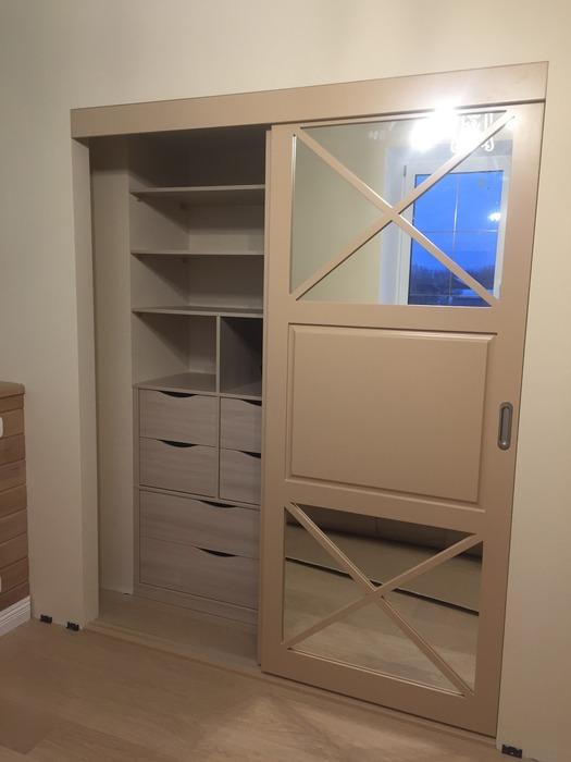 Встроенные шкафы-купе-Шкаф-купе с зеркалом «Модель 158»-фото3