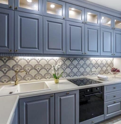 Встроенная кухня-Кухня МДФ в эмали «Модель 420»-фото6