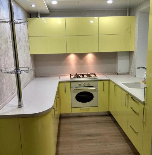 Акриловые кухни-Кухня МДФ в эмали «Модель 163»-фото4
