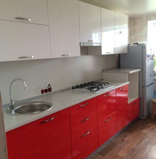 Белый кухонный гарнитур-Кухня МДФ в эмали «Модель 312»-фото10