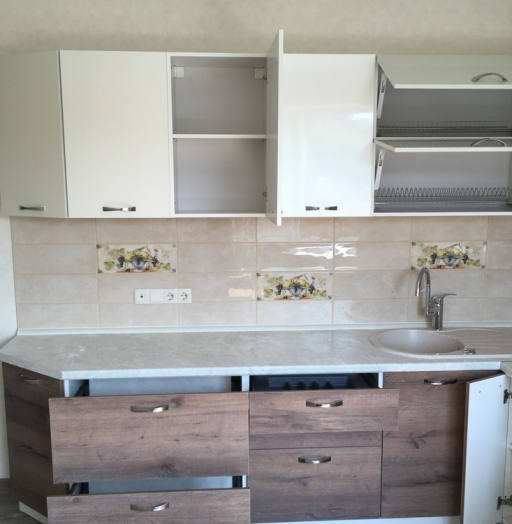 Белый кухонный гарнитур-Кухня МДФ в шпоне «Модель 318»-фото10