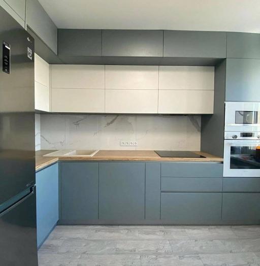 Высокие кухни под потолок-Кухня МДФ в эмали «Модель 632»-фото4